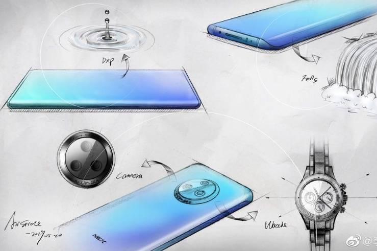 """Vivo展示了nex3草图和""""瀑布""""曲面玻璃"""