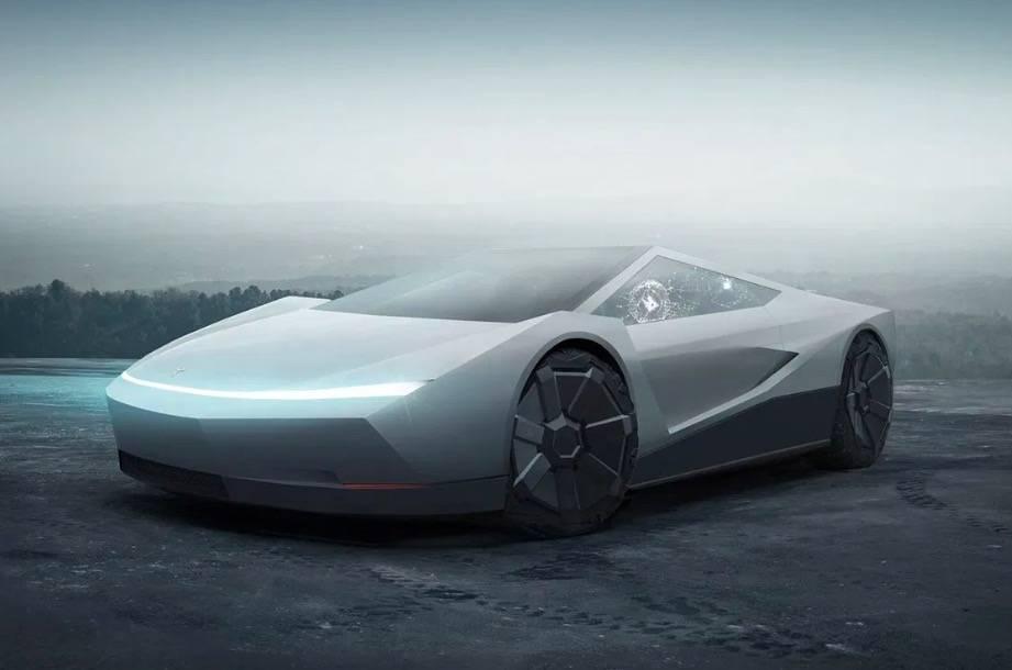 网友打造 Cybertruck 主题 Tesla Roadster 概念车型