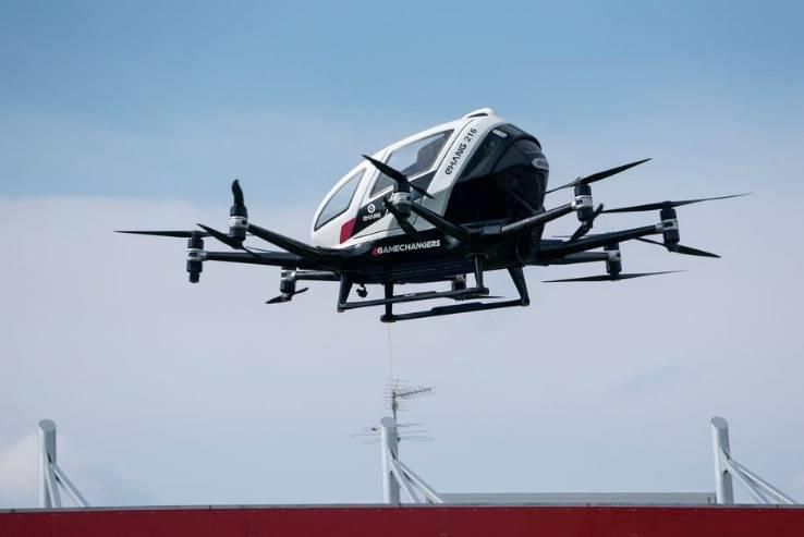 中国亿航的无人驾驶空中出租车首次在美国飞行